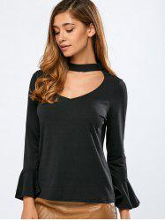 Bell Sleeve V Neck Top