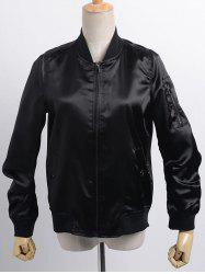 Stand Neck Satin Thin Fall Bomber Jacket