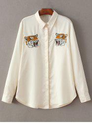 Tiger Embroidered Fitting Shirt -