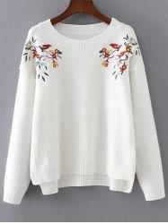 High-Low Embroidered Sweater -