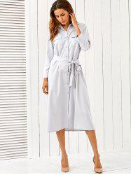 Button Up Long Sleeve Shirt Dress with Belt -
