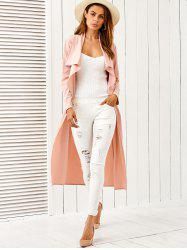 Draped Long Belted Duster Coat - PINK