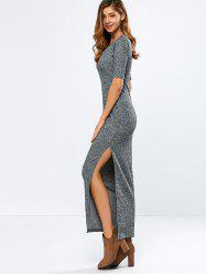 Elbow Sleeve Ribbed Sweater Maxi Dress - GRAY