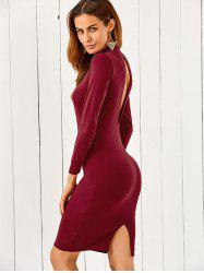 Mock Neck Long Sleeve Back Cutout Pencil Dress
