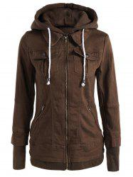 Trendy Hooded Long Sleeve Faux Twinset Pocket Design Women's Jacket - BROWN