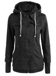 Trendy Hooded Long Sleeve Faux Twinset Pocket Design Women's Jacket -