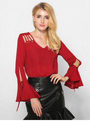 Flare Sleeve Cut Out Loose Blouse