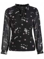 Cut Out Floral Print Chiffon Blouse