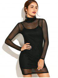 Turtleneck See-Through Yarn and Slip Dress Twinset