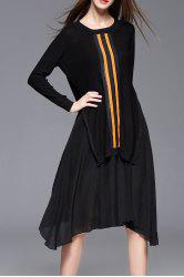 High Low Sweater Dress With Strap Dress - BLACK L