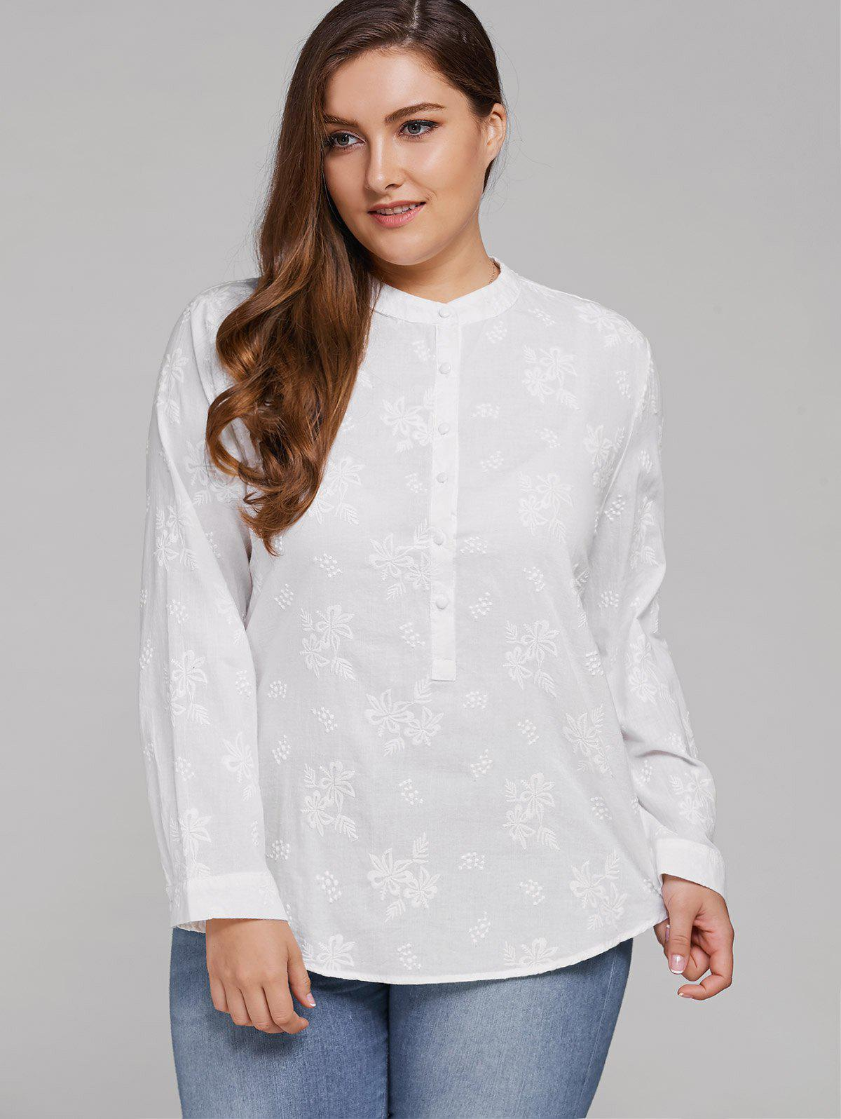 New Plus Size Long Sleeve Floral Embroidered Shirt