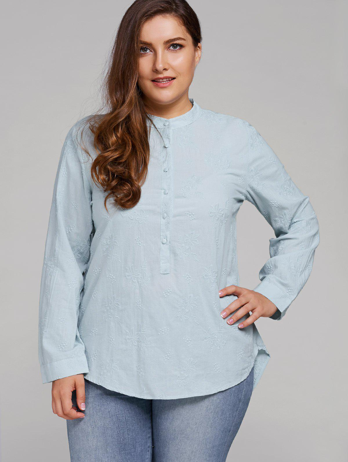 Cheap Plus Size Long Sleeve Floral Embroidered Shirt