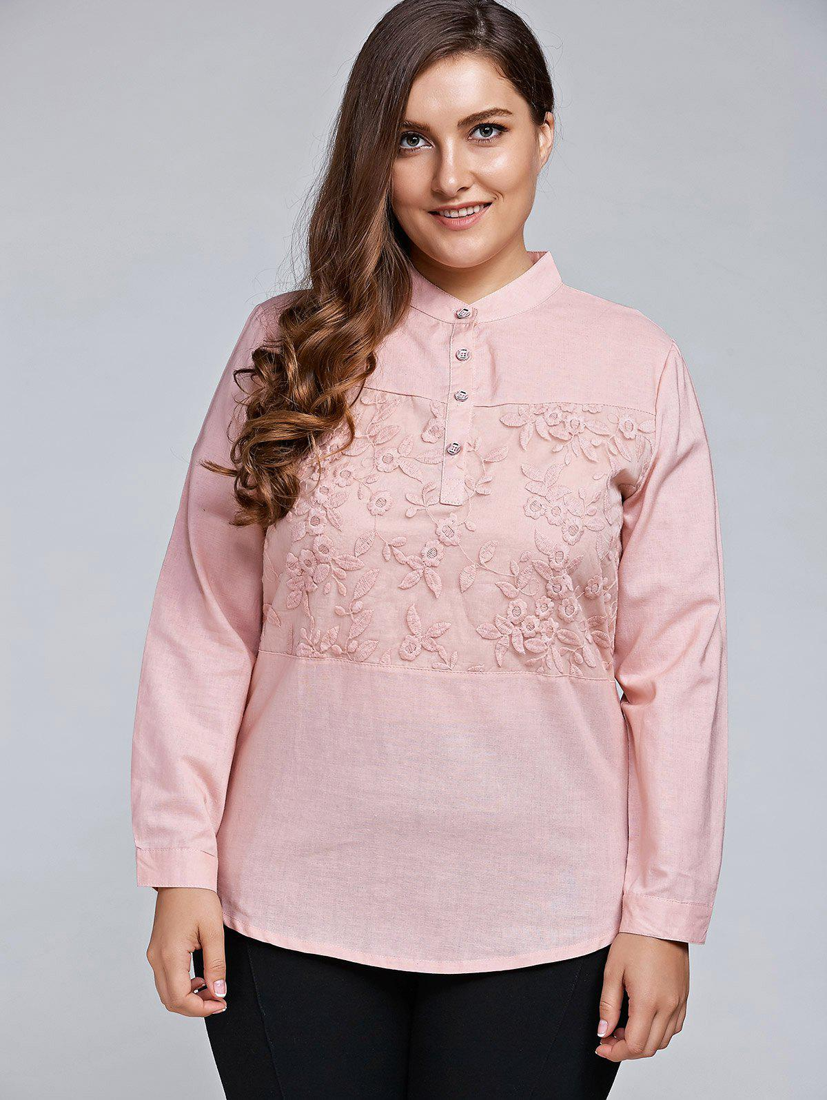 Hot Plus Size Long Sleeve Embroidered Formal Shirt