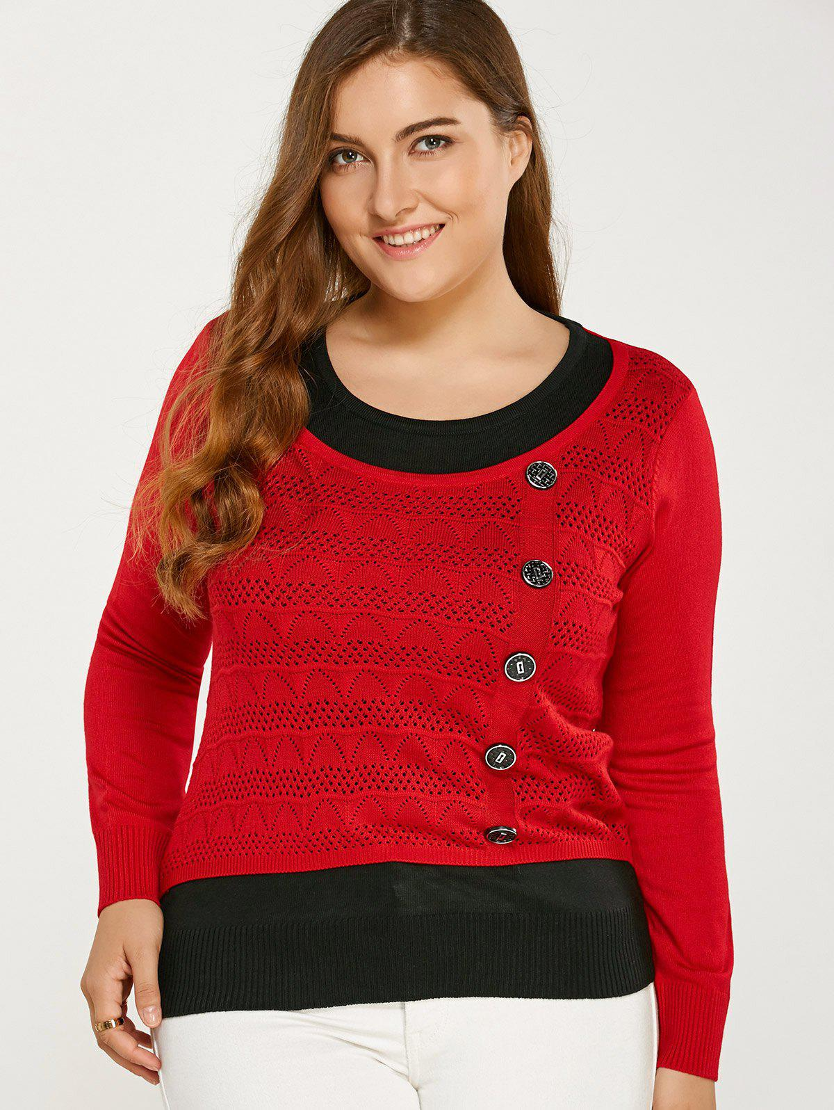 Shop Color Block Buttoned Plus Size Sweater