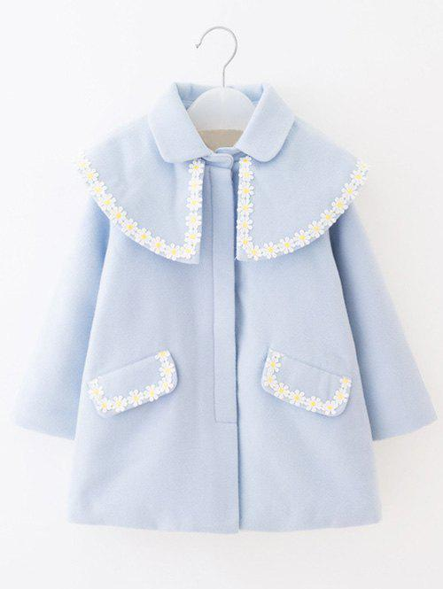 Store Turn Down Collar Flower Embroidery Woolen Coat