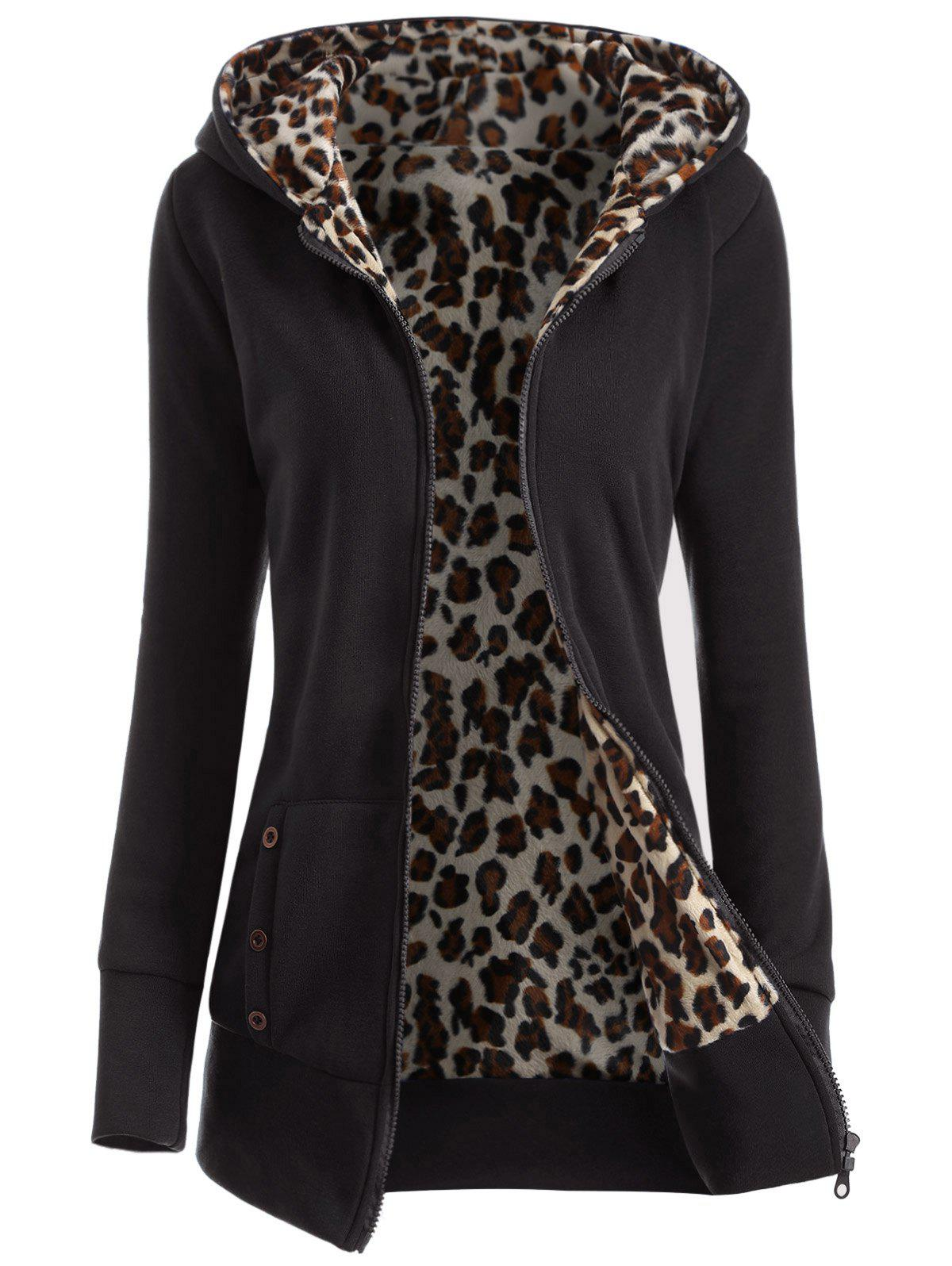 Thick Leopard Printed Inside HoodieWOMEN<br><br>Size: L; Color: BLACK; Material: Polyester; Shirt Length: Long; Sleeve Length: Full; Style: Casual; Pattern Style: Print; Season: Winter; Weight: 0.471kg; Package Contents: 1 x Hoodie;