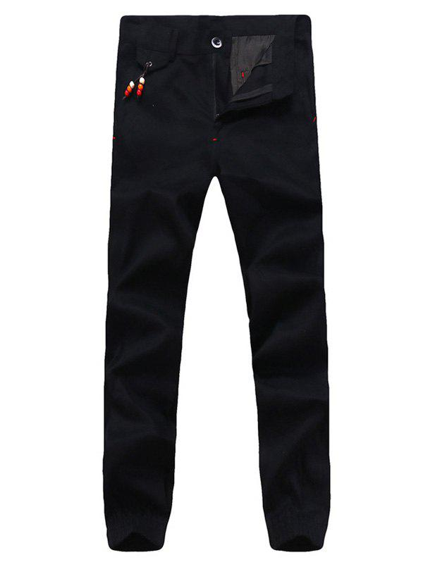 Hot Beading Embellished Zipper Fly Chino Jogger Pants