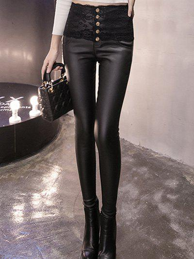 Hot Buttoned Lace Panel High Waisted Skinny Pants