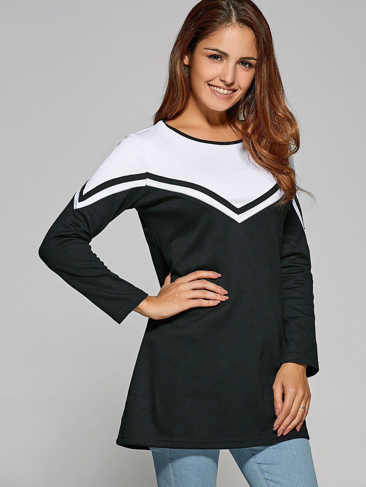New Zigzag Color Block T-Shirt Dress
