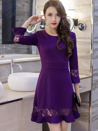 Outfit Lace Spliced Bell Sleeves Flare Dress