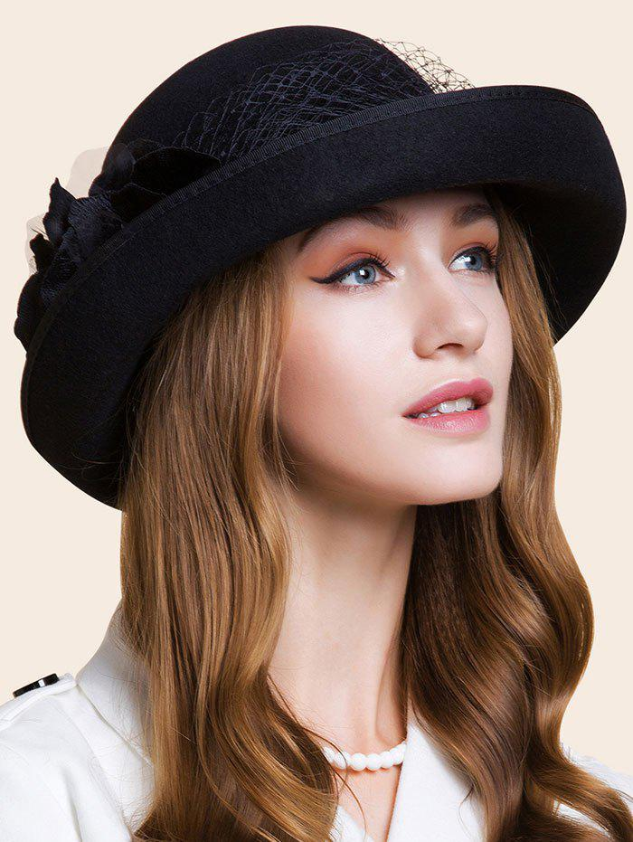Double Floral Embellished Flanging Bowler HatACCESSORIES<br><br>Color: BLACK; Hat Type: Fedoras; Group: Adult; Gender: For Women; Style: Fashion; Pattern Type: Solid; Material: Wool; Circumference (CM): 57CM; Weight: 1.750kg; Package Contents: 1 x Hat;