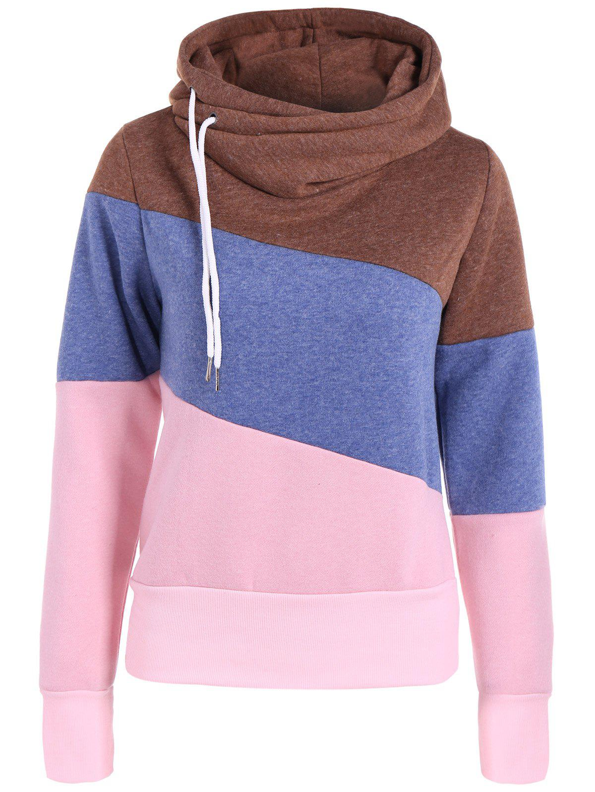 Casual Color Block Long Sleeves Hoodie For WomenWOMEN<br><br>Size: L; Color: BLUE; Material: Cotton Blend; Shirt Length: Regular; Sleeve Length: Full; Style: Casual; Pattern Style: Patchwork; Weight: 0.520kg; Package Contents: 1 x Hoodie;