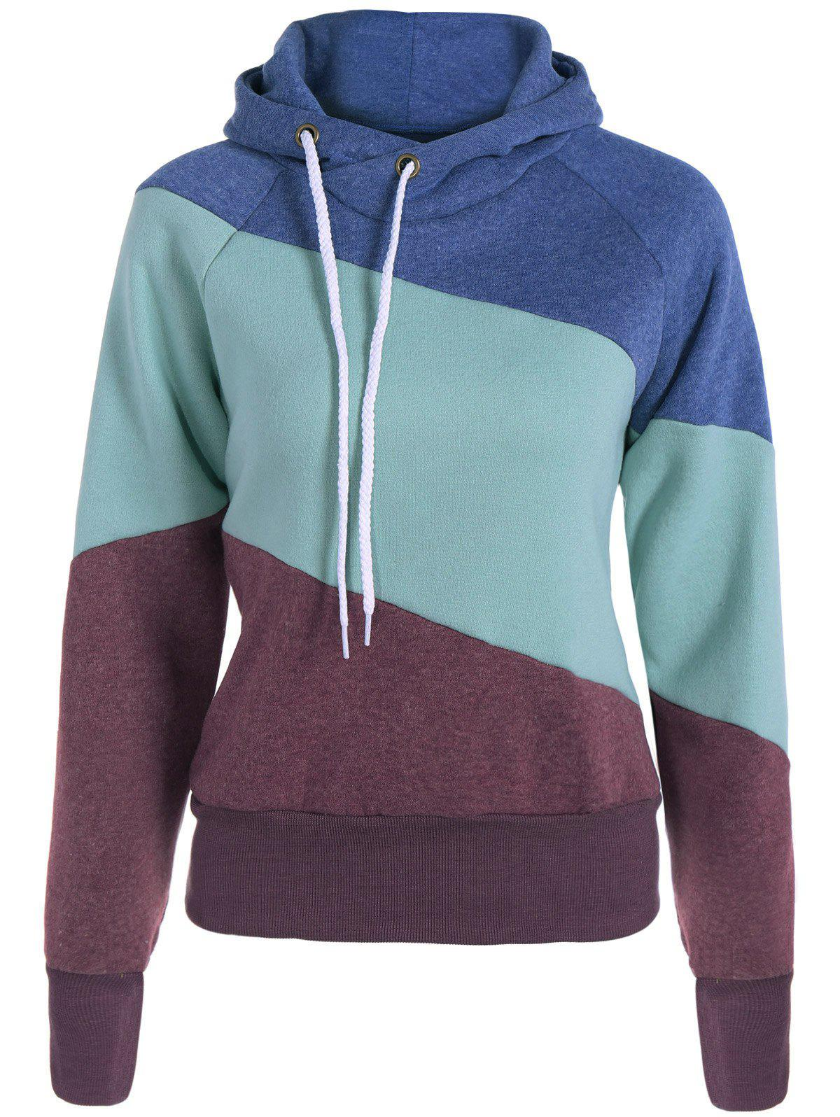 Casual Color Block Long Sleeves Hoodie For WomenWOMEN<br><br>Size: XL; Color: BROWN; Material: Cotton Blend; Shirt Length: Regular; Sleeve Length: Full; Style: Casual; Pattern Style: Patchwork; Weight: 0.520kg; Package Contents: 1 x Hoodie;