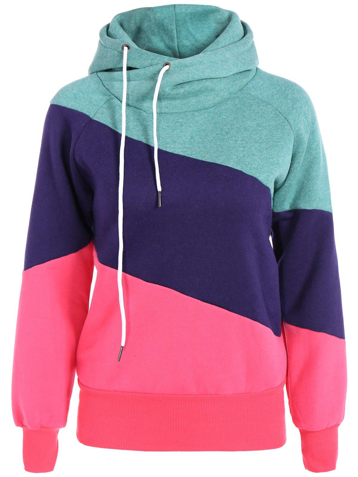 Casual Color Block Long Sleeves Hoodie For WomenWOMEN<br><br>Size: M; Color: RED; Material: Cotton Blend; Shirt Length: Regular; Sleeve Length: Full; Style: Casual; Pattern Style: Patchwork; Weight: 0.520kg; Package Contents: 1 x Hoodie;