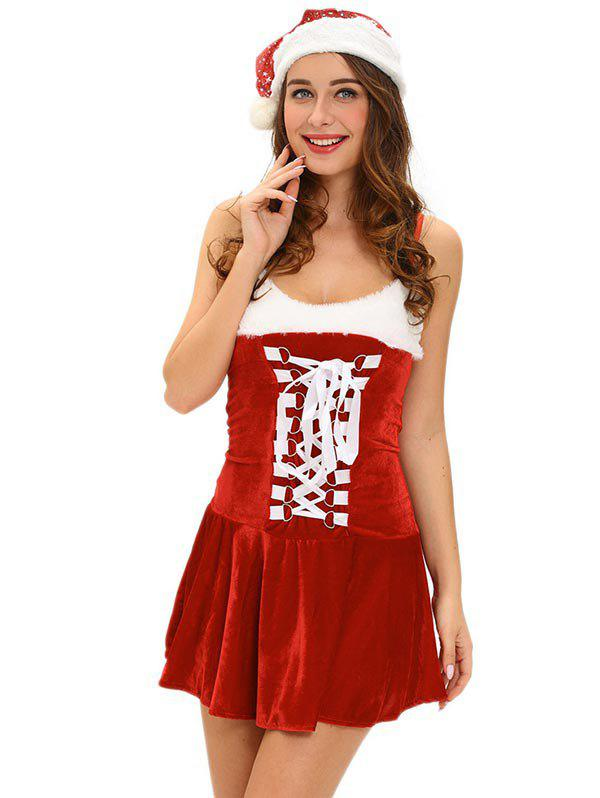 Store Christmas Cosplay Costume Lace Up Velvet Cami Dress