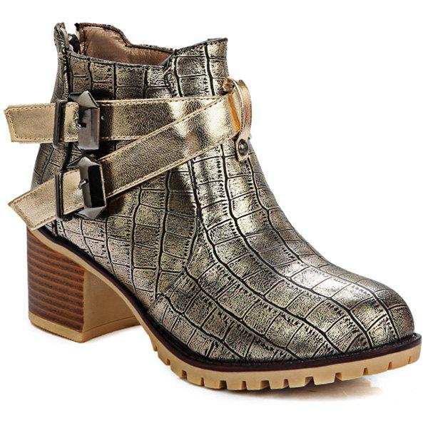 Shop Embossed Plaid Pattern Double Buckle Ankle Boots