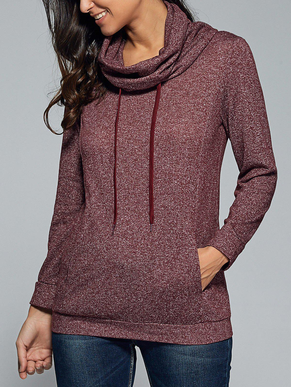 Hot Cowl Neck Heather Drawstring Sweatshirt