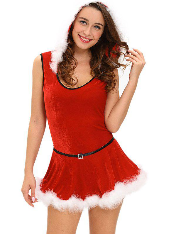 Store Christmas Hooded Jumpsuit With Skirt