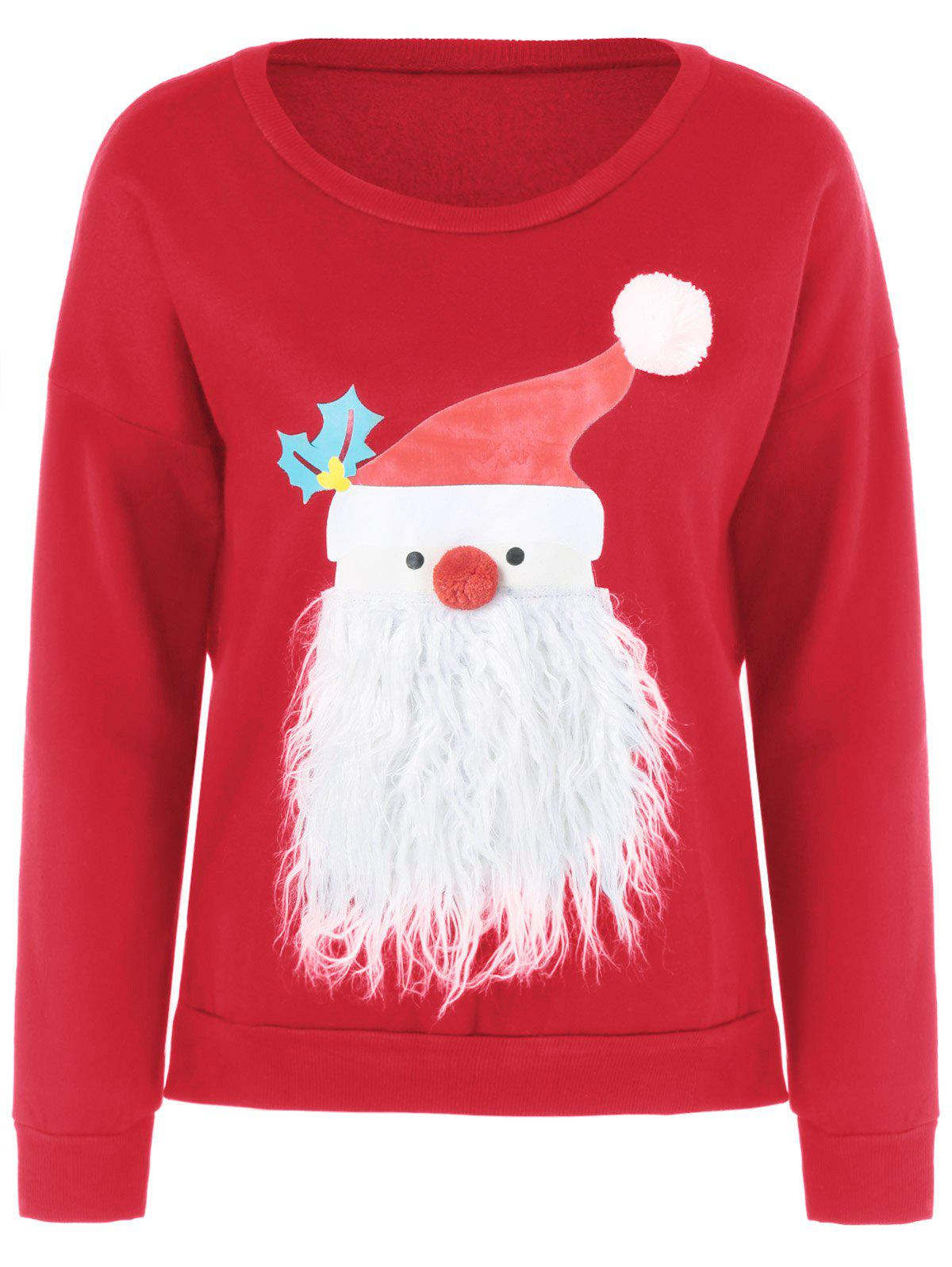 Christmas Fuzzy SweaterWOMEN<br><br>Size: M; Color: RED; Material: Polyester; Shirt Length: Regular; Sleeve Length: Full; Style: Casual; Pattern Style: Print; Season: Fall,Spring,Winter; Weight: 0.252kg; Package Contents: 1 x Sweatshirt;