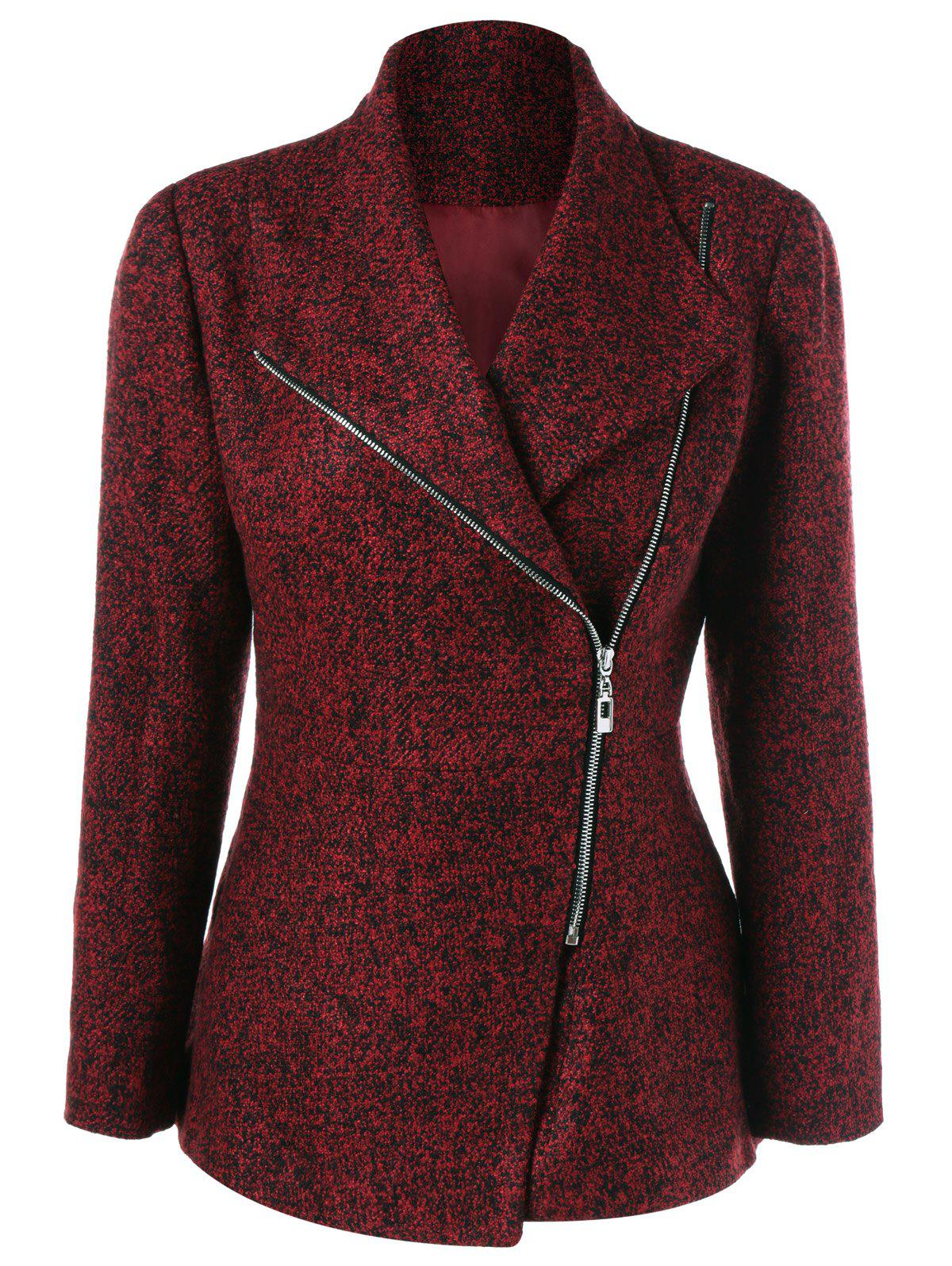 Inclined Zipper Marled JacketWOMEN<br><br>Size: XL; Color: DARK RED; Clothes Type: Jackets; Material: Polyester; Type: Slim; Shirt Length: Regular; Sleeve Length: Full; Collar: Turn-down Collar; Pattern Type: Others; Embellishment: Zippers; Style: Fashion; Season: Fall,Spring; Weight: 0.470kg; Package Contents: 1 x Jacket;
