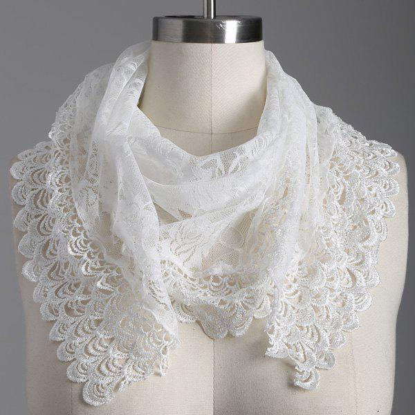 Travel Openwork Wave Cut Edge Trim Lace Triangle ScarfACCESSORIES<br><br>Color: WHITE; Scarf Type: Scarf; Group: Adult; Gender: For Women; Style: Fashion; Material: Polyester; Season: Fall,Summer; Scarf Length: 145CM; Scarf Width (CM): 47CM; Weight: 0.100kg; Package Contents: 1 x Scarf;