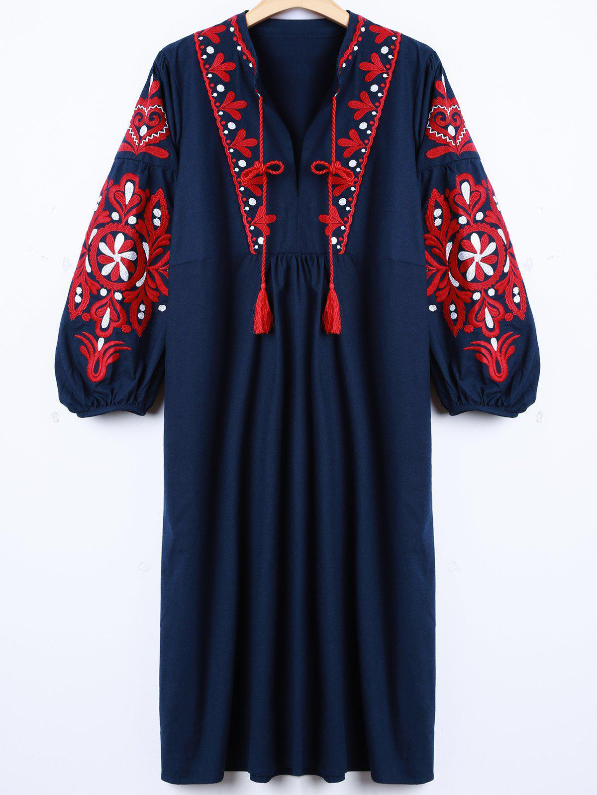Fashion Casual Lantern Sleeve Embroidered Dress