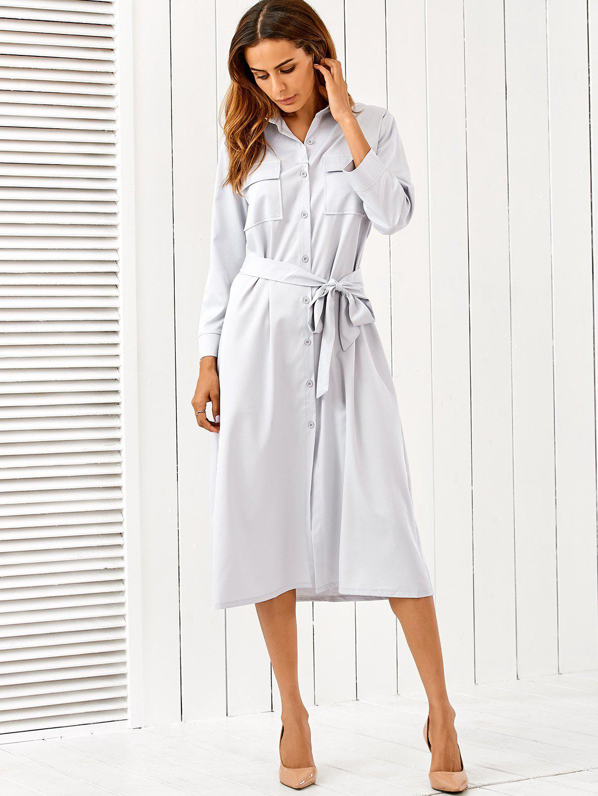 Discount Button Up Long Sleeve Shirt Dress with Belt