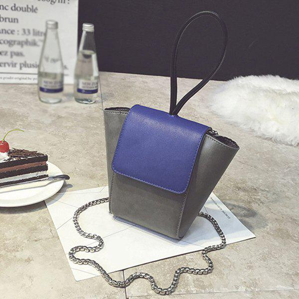New Chains Color Block PU Leather Crossbody Bag