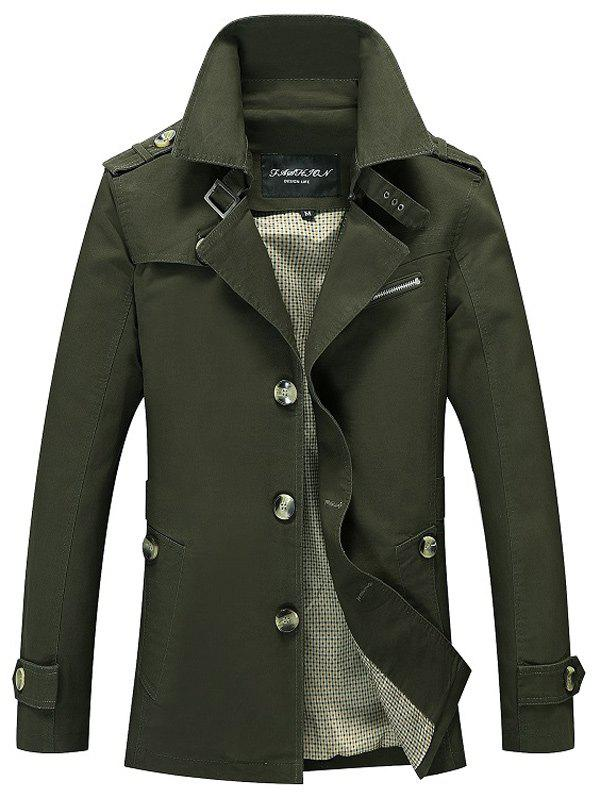 Outfit Notched Collar Epaulet Wind Coat