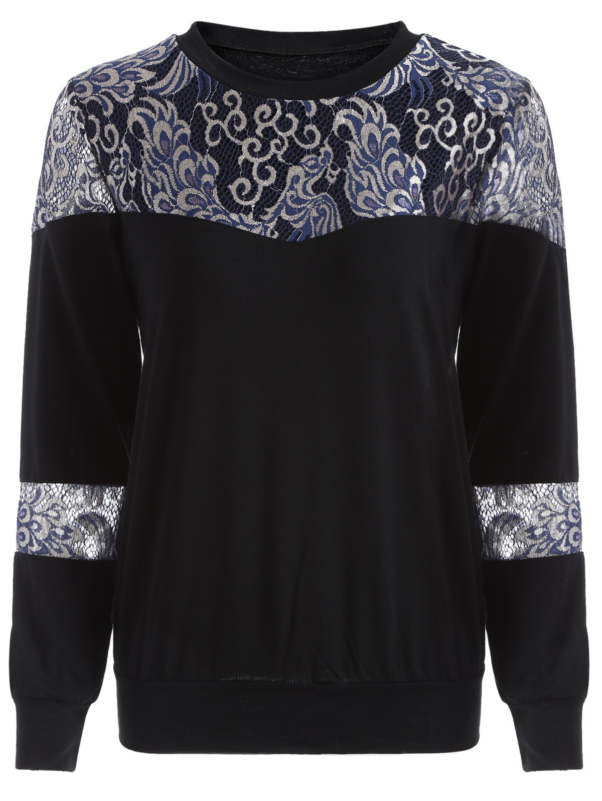 Shop Loose Embroidered Lace Spliced Tee