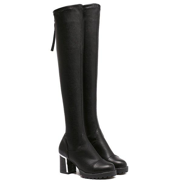 Sale Platform PU Leather Back Zip Thigh Boots