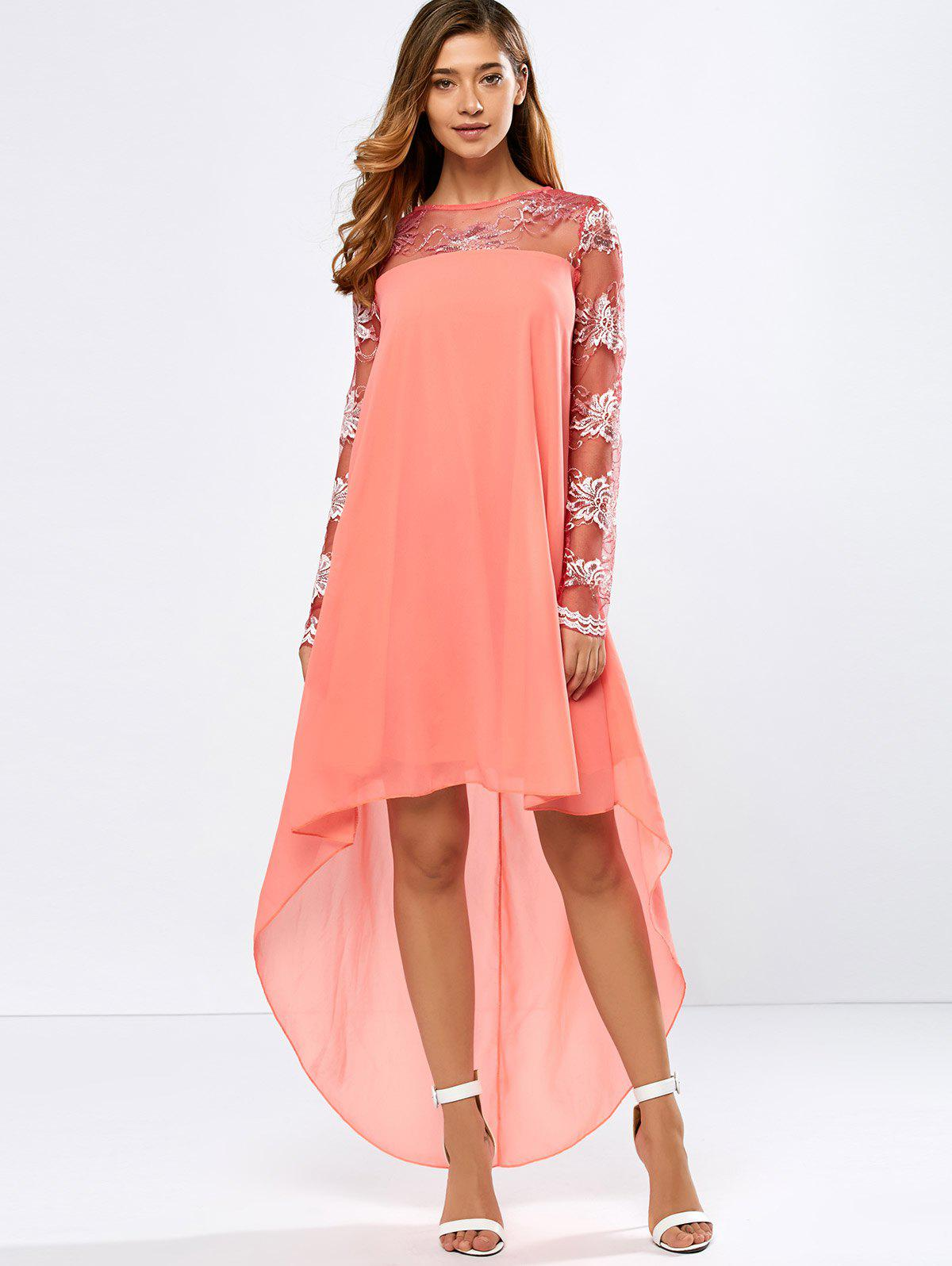Discount Lace Insert High Low Casual Dress Fall