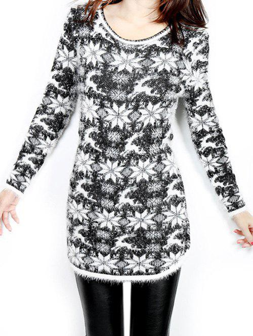 Christmas Jacquard Loose SweaterWOMEN<br><br>Size: ONE SIZE; Color: BLACK; Type: Pullovers; Material: Acrylic; Sleeve Length: Full; Collar: Round Neck; Style: Fashion; Pattern Type: Print; Season: Fall,Winter; Weight: 0.438kg; Package Contents: 1 x Sweater;