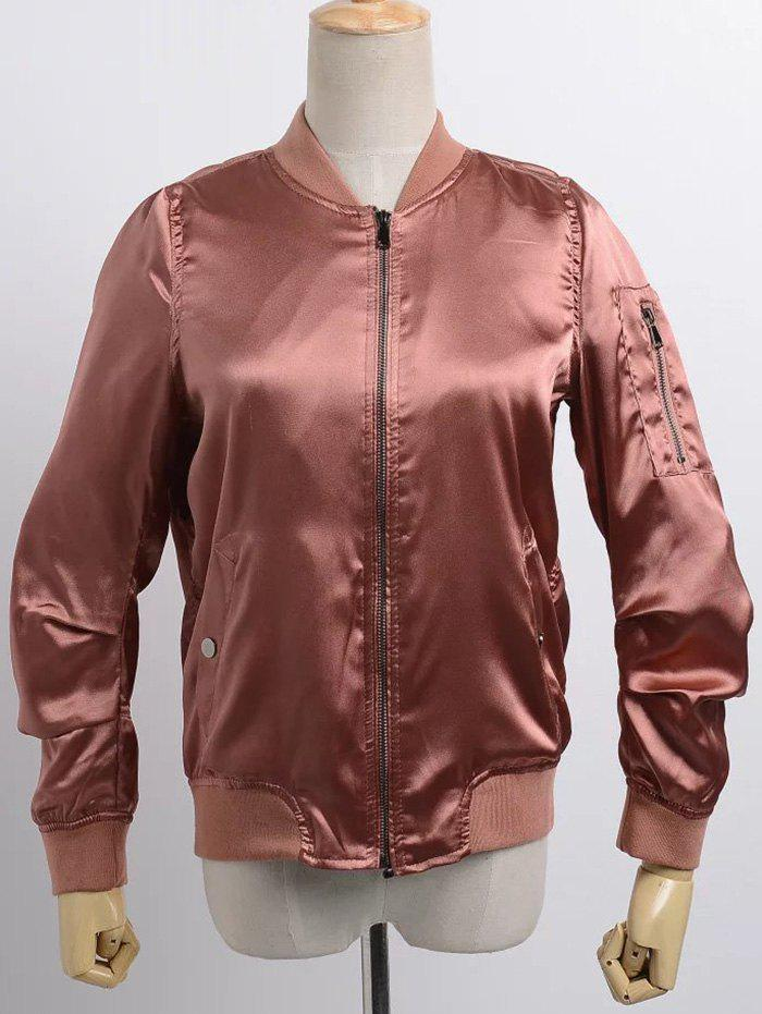Chic Stand Neck Satin Thin Fall Bomber Jacket