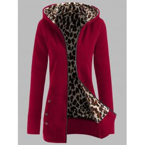 Plus Size Leopard Pattern Fur-Lined Coat - Deep Red - 4xl
