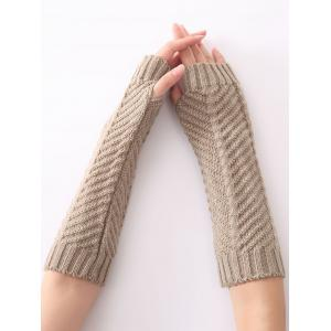 Christmas Winter Fishbone Crochet Knit Arm Warmers - Light Gray