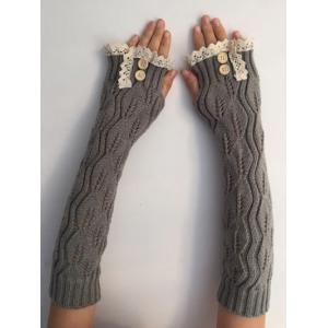 Christmas Winter Lace Buttons Hollow Out Crochet Knit Arm Warmers - Light Gray