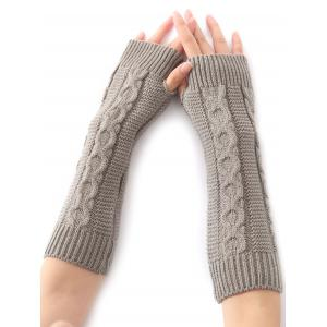 Hemp Decorative Pattern Christmas Crochet Knit Arm Warmers - Light Gray