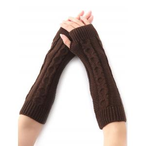 Hemp Decorative Pattern Christmas Crochet Knit Arm Warmers - Coffee