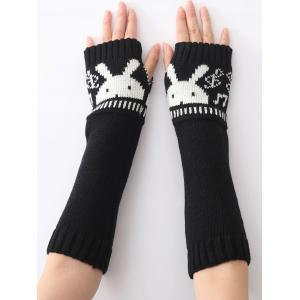 Christmas Winter Rabbit Head Hollow Out Crochet Knit Arm Warmers